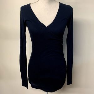 Michael Stars Navy Blue Faux Wrap Ruched Top